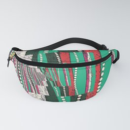 Red teal white Pearls and lace pattern Fanny Pack
