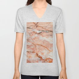 Pink Marble Unisex V-Neck