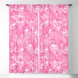 11 Small Flowers on Pink Watercolor Blackout Curtain