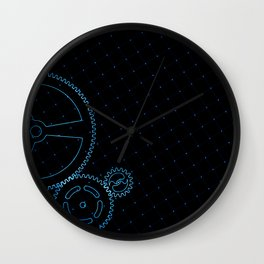 Set of blue gears and cogs on virtual screen Wall Clock