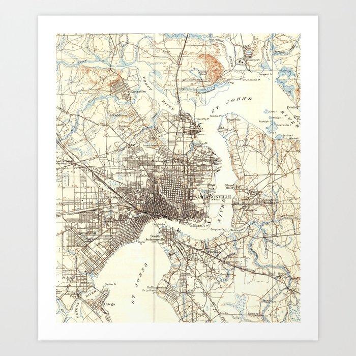 picture regarding Printable Map of Jacksonville Fl titled Classic Map of Jacksonville Florida (1918) Artwork Print through bravuramedia