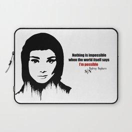 Audrey Hepburn art design ( black and white)  Laptop Sleeve