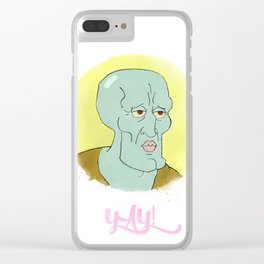 Handsome squidward Clear iPhone Case