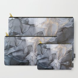Calm but Dramatic Light Monochromatic Black & Grey Abstract Carry-All Pouch