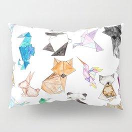 Cute Hand Drawn Geometric Paper Origami Animals Pillow Sham