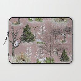 Owl Fox Snow Pattern Pink Laptop Sleeve