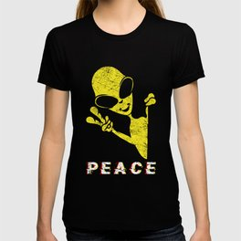 Peace Sign Universe Space Unidentified Flying Object Planets Science Area-51 UFO Cosmo Scientist T-shirt