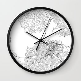 Auckland White Map Wall Clock