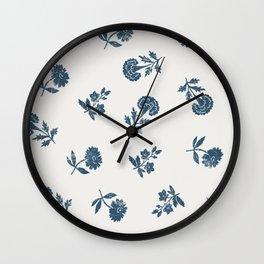 Lino print blue floral Wall Clock