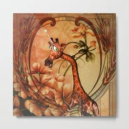 Funny, cute unicorn giraffe Metal Print