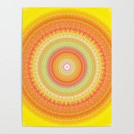 Bright Yellow Orange Mandala Poster