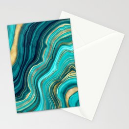 Watercolor Geode Green Agate Malachite Stationery Cards