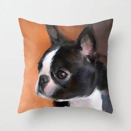 Perky Boston Terrier Throw Pillow