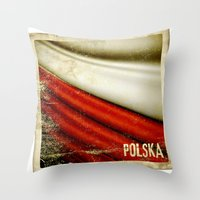 poland Throw Pillows featuring STICKER OF POLAND flag by Lulla