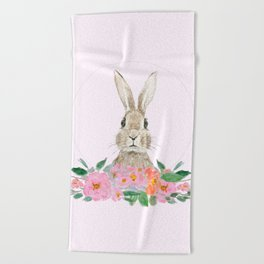 rabbit and pink camellia flower Beach Towel