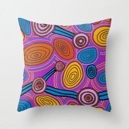 Authentic Aboriginal Art - Skipping Stones Throw Pillow