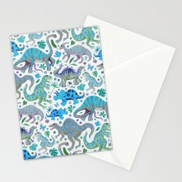 Happy Dinos - blue green Stationery Cards