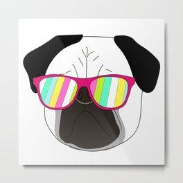 Pug,dog  with sunglasses illustration Metal Print