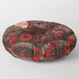Tawny Owlets Floor Pillow