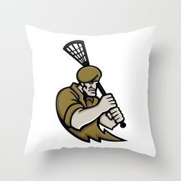 Commando Lacrosse Mascot Throw Pillow