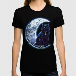 Black Cat Celtic Crescent Moon T-shirt