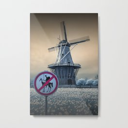 No Tilting at Windmills with Don Quixote Sign and Windmill Metal Print