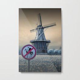 No Tilting at Windmills with Don Quixote Sign and Windmill Metal Print