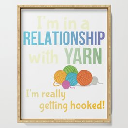 Funny Yarn Knitters Crochet Crafters Committed Relationship Pun Serving Tray
