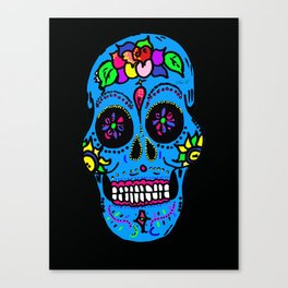 Sugar Skull Blue Floral Canvas Print