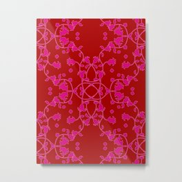 Red Pink Art Nouveau Floral Metal Print