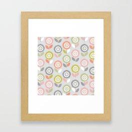 Soft Graphic Flower Pattern Framed Art Print