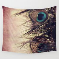 peacock feather Wall Tapestries featuring Peacock Feather by KunstFabrik_StaticMovement Manu Jobst