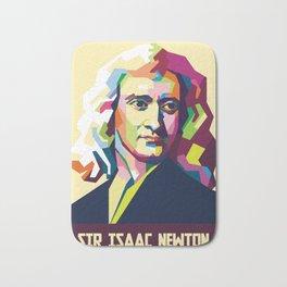 Sir Isaac Newton In Pop Art Portrait Bath Mat
