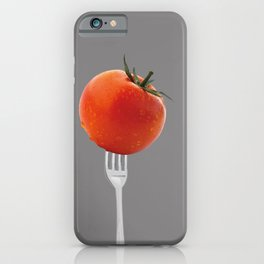 fork with tomato - grey iPhone Case