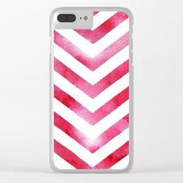 Watercolor Chevro, Red Chevron Striped Watercolor, Home And Accessories Clear iPhone Case