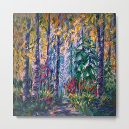 Deep in the Woods - One of the best of my forest path oil paintings with a palette knife. Metal Print