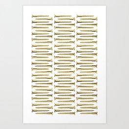 Golden Screws Pattern Poster Art Print
