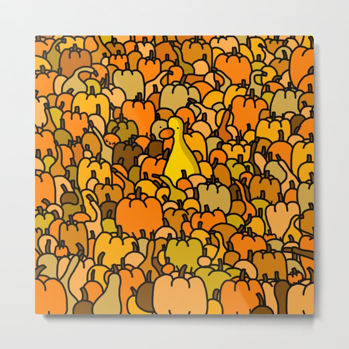 Duck in a Pumpkin Patch Metal Print
