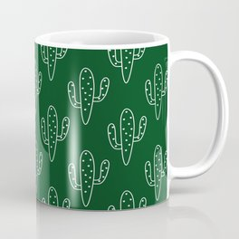 Modern hand painted forest green white cactus floral Coffee Mug