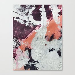 Taboo: a vibrant, abstract, mixed-media piece in purple, orange, and light blue Canvas Print