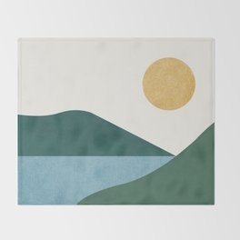 Sunny Lake - Abstract Landscape Throw Blanket