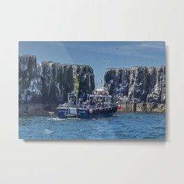 Passengers on board a boat at the farne Islands, Northumberland Metal Print