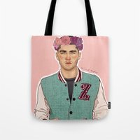 zayn Tote Bags featuring Zayn varsity by Coconut Wishes