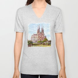 La Sagrada Familia watercolor Unisex V-Neck