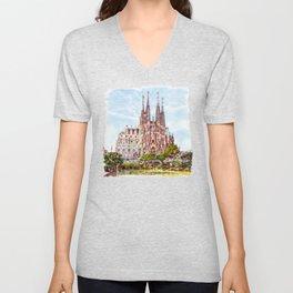 La Sagrada Familia watercolor Unisex V-Neck