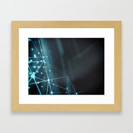 Blue modern dynamic plasma energy laser futuristic virtual technology background Framed Art Print