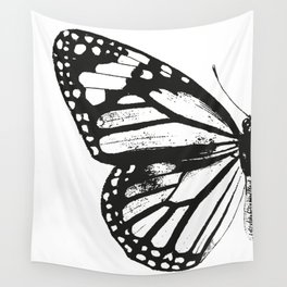 Monarch Butterfly | Left Butterfly Wing | Vintage Butterflies | Black and White | Wall Tapestry