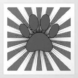 Dog Paw Print Manga Style Art Print