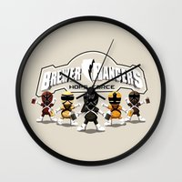 power rangers Wall Clocks featuring Brewer Rangers by le.duc