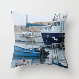 Docked Boats-Color Throw Pillow